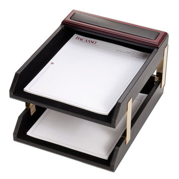 Dacasso Office Desk Paper Mesh Storage Organizer Rosewood And Leather Double Letter Trays