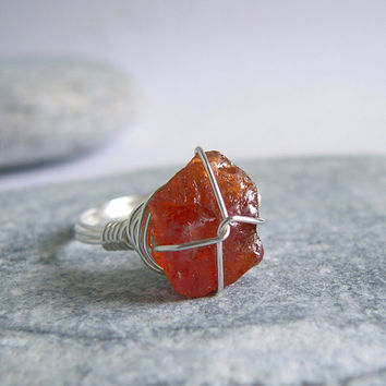 Rough Spessartite Garnet Sterling Silver Ring, Uncut Raw Gemstone Handmade Wire Jewerly