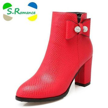 S.Romance Women Ankle Boots Plus Size 34-43 Med Square Heel Zip Round Toe Classic Fash