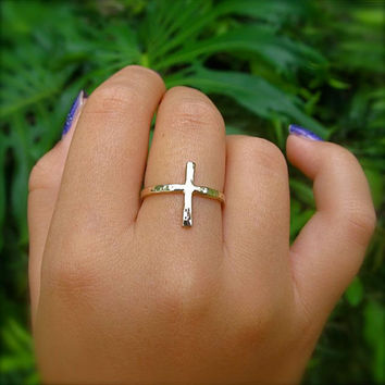 Gold Cross Ring, Hammered, Custom Made, Textured, Handmade, Christian Inspired Jewelry