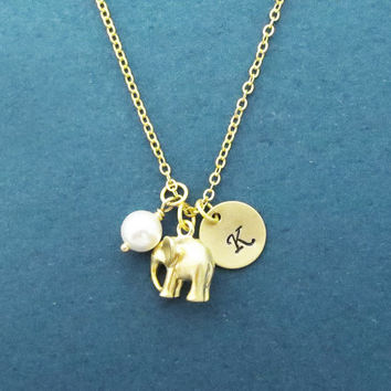 Personalized, Letter, Initial, Disc, Elephant, White, Pearl, Gold, Silver, Necklace, Custom, Hand stamped, Coin, Charm, Dumbo, Gift, Jewelry