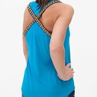 Women's Criss Cross Tank in Blue by Daytrip.