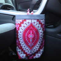 Car Trash Bag Amy Butler Alchemy Organic Imperial Paisley in Ruby