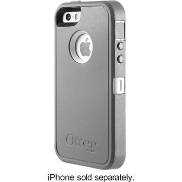 OtterBox - Defender Series Case and Holster for Apple® iPhone® 5 and 5s - Gunmetal Gray/White