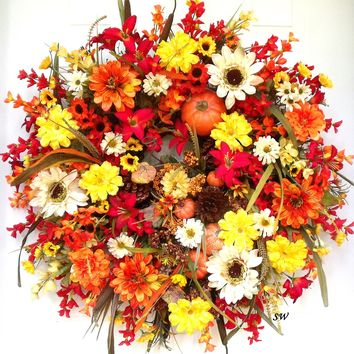 Autumn Wreath, Pumpkins, Pine-cones, Door Wreath, Wall Wreath, Between 2 Doors, Fall Wreath, Orange, Yellow, Reds, Thanksgiving, Free Ship