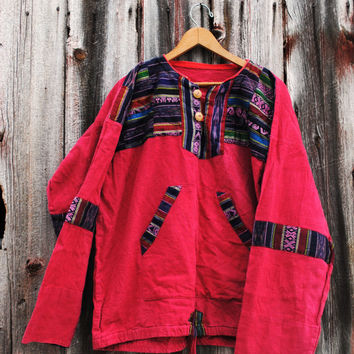 Vintages 90s Red Baja Pullover Cover-Up with Ethnic Iket Patches