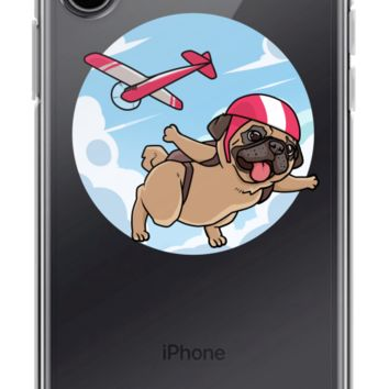 Pug iPhone X Case | Funny Skydiving Dog Cover | The Jazzy Panda