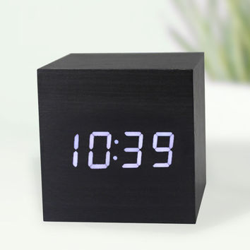 Promotion 2016 Brand New Modern Wood style Digital LED Desk Alarm Clock Thermometer Timer Calendar Home Gadgets