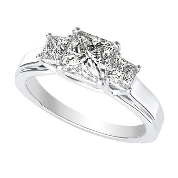 b 3 Three Stone GIA Certified Princess Diamond Engagement Ring 14K White Gold (D-E Color VS1-VS2 Luxury Collection)