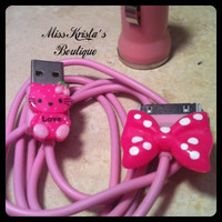 Hello Kitty Iphone 4 IPod Case pink USB Car Charger Power Adapter Kitty Cat Bow Charger