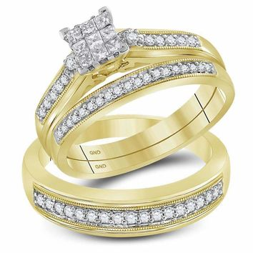 10kt Yellow Gold His & Hers Princess Diamond Cluster Matching Bridal Wedding Ring Band Set 1/2 Cttw - FREE Shipping (US/CAN)