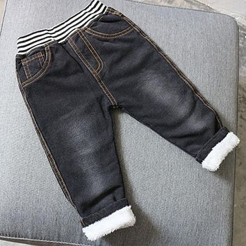 New winter baby boys girls stripe jeans pants thick warm casual trousers kids denim pants children's jeans