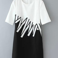 White and Black Color Block Wave Print Dress