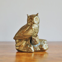 Large Brass Owl Statue, Mid Century Collectible Owl, Retro Woodland Rustic Figurine, Office Paperweight Bookend