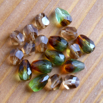 Czech Fire Polished glass beads, Tear Drop, Topaz, Green, Nugget, bead mix, metallic Coin, destash, sale, jewelry making supplies