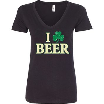 Ladies St Patricks Day Shirt I Love Beer V-Neck