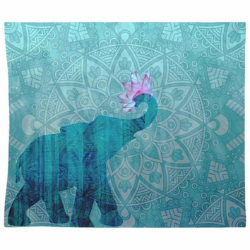 Blue Elephant Tapestry With Mandala And Pink Lotus