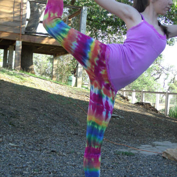 Upcycled Womens Tie Dyed Light Weight Thermal Leggings