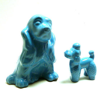 ceramic dog figurines  //  turquoise, aqua blue home decor  //  upcycled, pop art, poodle, dogs, puppies, kitsch