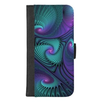 Purple meets Turquoise modern abstract Fractal Art iPhone 8/7 Plus Wallet Case