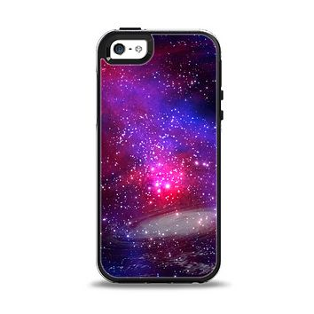 The Vivid Pink Galaxy Lights Apple iPhone 5-5s Otterbox Symmetry Case Skin Set