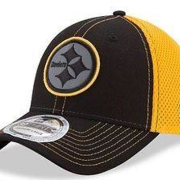 Pittsburgh Steelers New Era Neo NFL 39THIRTY Stretch Fit Hat Flex Mesh Back Cap