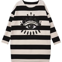 ROMWE Striped Panel PU Eye Crop Sleeves Black Sweatshirt