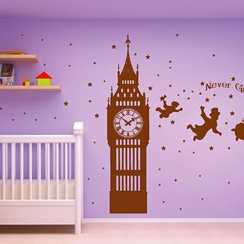 ik2797 Wall Decal Sticker Peter Pan fairy tale of Big Ben room children's bedroom