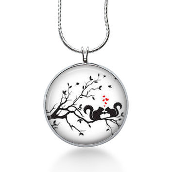 Squirrel silhouette Necklace - squirrel jewelry - Woodland Jewelry - nature pendant - Forest - tree branch - squirrel pendant - Silhouette