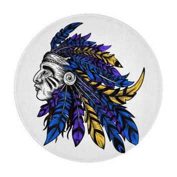 American Native chieftain head illustration Cutting Board