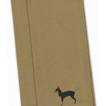 Toy Fox Terrier Tan Embroidered Kitchen Towel Set of 2 BB3387TNTWE
