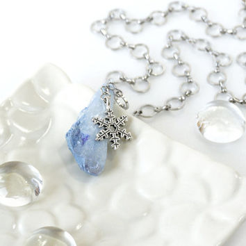 Rock Crystal Stone Necklace with Hot Air Balloon Charm, Cornflower Blue Plating Crystal Point Jewelry