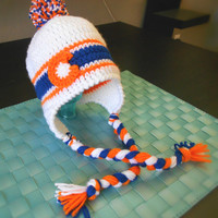 Denver Broncos Inspired Colorado Flag Earflap Beanie: ADULT Size