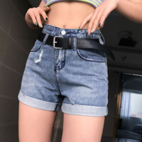 Fashion Design Sense of European and American High-waist Ribbon Jeans Shorts Women's Hot Pants