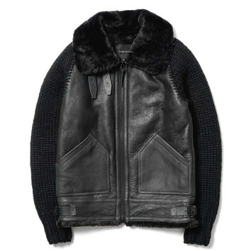 Shearling Aviator Jacket Black