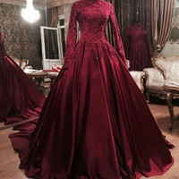 robe de soiree A Line High Neck Long Sleeves Lace Appliques Beaded Muslim Prom Dress kaftan Women Long Red Evening Dresses