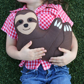 Rainforest Critter- Sloth with heart- Eco Friendly plush- Personalized Initials