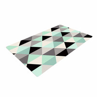 "Crystal Walen ""Triangle Geo Mint "" Teeal Black Woven Area Rug"