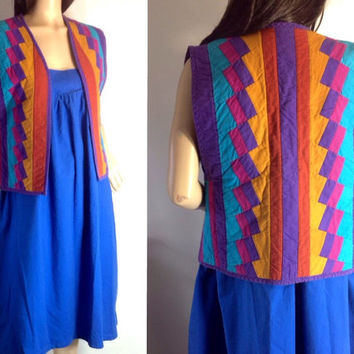 Vintage Hippie boho vest / Seminole Miccosukee / Ethnic vest Native American / Florida Native Indian / Patchwork Vest  Top S Small