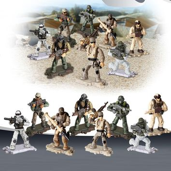 8Pcs/set Game Army Soldiers World War II WW2 Military Series with Weapons Guns Building Blocks Bricks Kids Gifts Toys