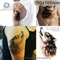 individuality waterproof temporary tattoos for men and women Wolf roar design large arm tattoo sticker Free Shipping SC2908