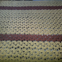 "Vintage Retro Mod Handmade Yellow Mustard and Brown Afghan Blanket - Unique Design - 59"" x 78"""