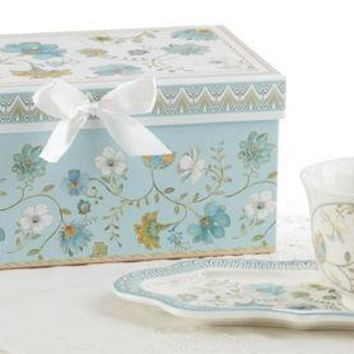 Blue Romance Tea and Toast Snack Set in Gift Box