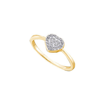 14kt Yellow Gold Womens Round Diamond Slender Delicate Heart Ring 1/12 Cttw 48754