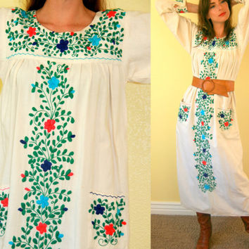 Vintage Mexican dress/  summer mumu/ fiesta by SawtoothVintage