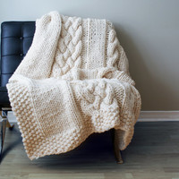 "Knitting PATTERN - Throw Blanket / Rug Super Chunky Double Cable Approximately 49"" x 64"" (blanket001)"
