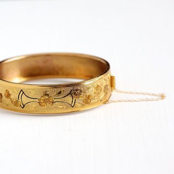 Vintage 10k Yellow Gold Filled Hinged Flower Bangle Bracelet - 1930s Art Deco Engraved Floral and Black Enamel Thick Stacking Jewelry