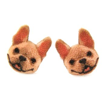 Adorable French Bulldog Puppy Animal Head Shaped Stud Earrings | Shrink Plastic