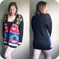 Snowflakes and Wreaths Ugly Christmas Sweater Knit Cardigan