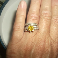 Canary Yellow Fire CZ Sterling Silver Ring Size 5 Engagement or Right Hand Ring